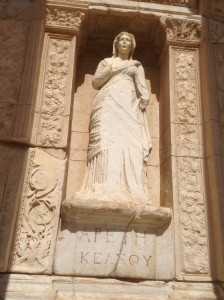 Goddess Arete adorning the front of the Library