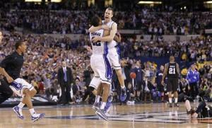 Duke celebrates victory against Butler in their NCAA national championship college basketball game in Indianapolis